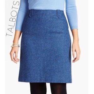 NWT Talbots blue wool herringbone tweed skirt 10